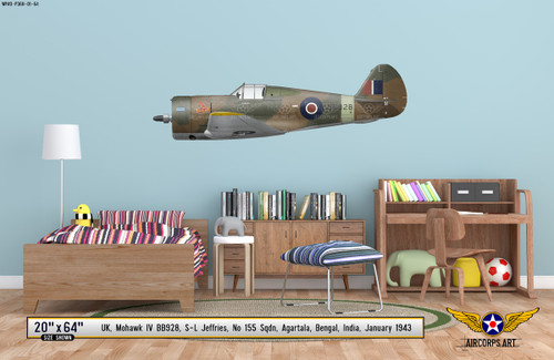 Mohawk IV Decorative Military Aircraft Profile on Kids Room Wall Mockup Display