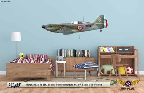 D.250 No 266 Decorative Military Aircraft Profile on Kids Room Wall Mockup Display