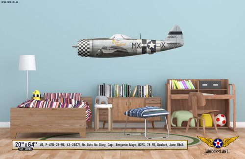 "P-47D Thunderbolt ""No Guts No Glory"" Decorative Military Aircraft Profile on Kids Room Wall Mockup Display"