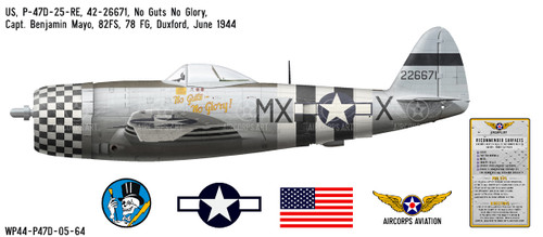"P-47D Thunderbolt ""No Guts No Glory"" Decorative Vinyl Decal"