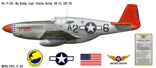 "P-51C Mustang ""My Buddy"" Decorative Military Aircraft Profile Print Wall Art Decal"