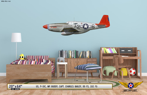 "P-51C Mustang ""My Buddy"" Decorative Military Aircraft Profile on Kids Room Wall Mockup Display"
