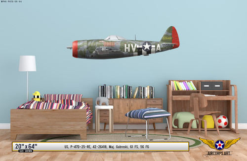 P-47D Thunderbolt - Gabby Gabreski Military Aircraft Profile on Kids Room Wall Mockup Display