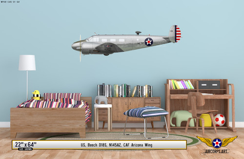 Beech D18S Decorative Military Aircraft Profile on Kids Room Wall Mockup Display