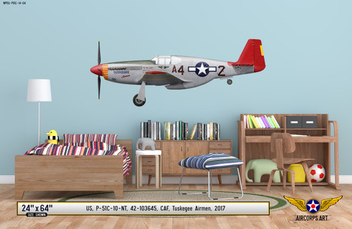 "P-51C Mustang ""Tuskegee Airmen"" Decorative Military Aircraft Profile on Kids Room Wall Mockup Display"