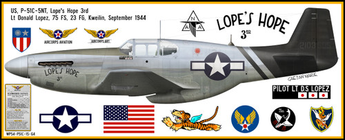 """P-51C Mustang """"Lopes Hope"""" Decorative Vinyl Decal"""