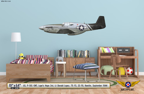 "P-51C Mustang ""Lopes Hope"" Decorative Military Aircraft Profile on Kids Room Wall Mockup Display"
