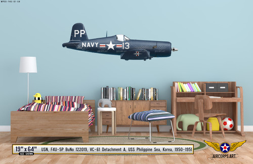 F4U-5P Vought Corsair Decorative Military Aircraft Profile on Kids Room Wall Mockup Display