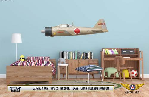 A6M2 Zero Military Aircraft Profile Print Wall Art Decal