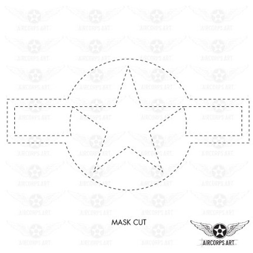 US Army Air Force National Star and Bars Insignia Military Aircraft Roundel - AN-I-9b - Decal or Paint Mask
