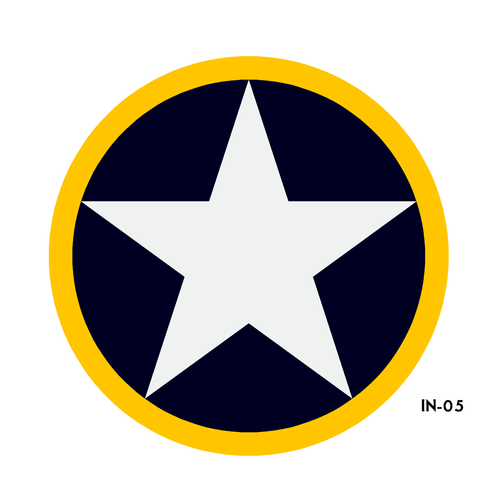 USAF Star in Circle with Yellow Outline Insignia Military Aircraft Roundel - Spec. No. 24102-K