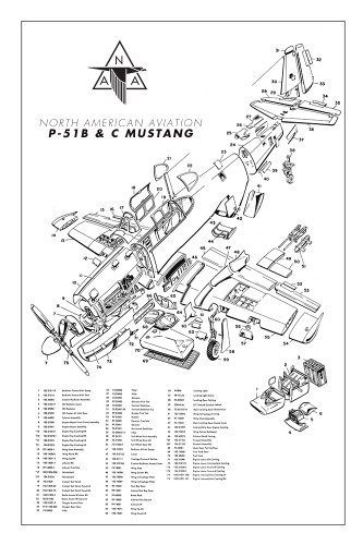 P-51B & C Mustang Major Assemblies Poster - Exploded View
