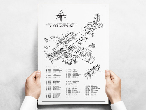 P-51D Mustang Major Assemblies Military Aircraft Airplane Poster - Exploded View