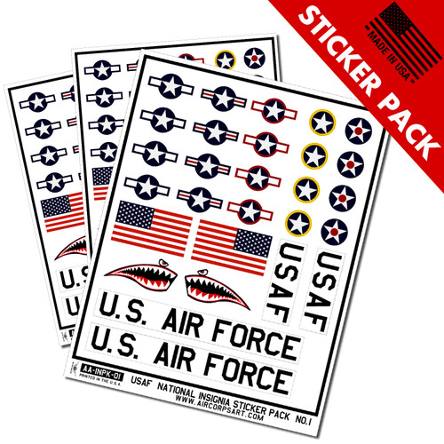 USAF Insignia Star and Bars Sticker Pack with Shark Mouth