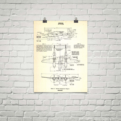 """P-38 Lightning Vintage Military Poster- Three View Vintage Aircraft Airplane Aircraft General Arrangement 24""""x18"""""""