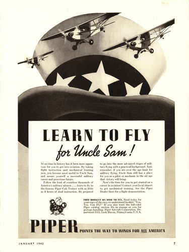 "Piper Cub ""Learn To Fly"" Vintage Military Aircraft Airplane Poster Mockup Art Display"