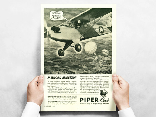 "Piper Cub ""Medical Mission!"" Vintage Military Aircraft Airplane Poster"