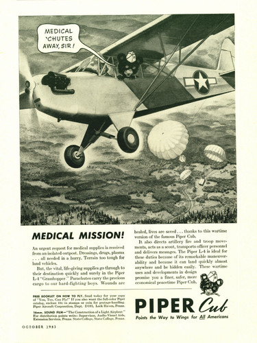 "Piper Cub ""Medical Mission!"" Vintage Military Aircraft Airplane Poster Reproduction 24""x18"