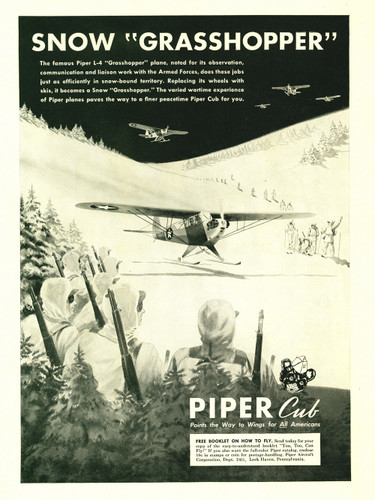 "Piper Cub ""Snow Grasshopper"" Vintage Military Aircraft Airplane Poster Mockup Art Display"