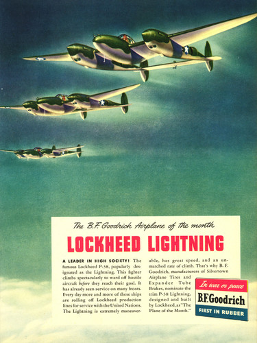 "P-38 Lockheed Lightning Vintage B.F. Goodrich Poster Ad Reproduction 24""x18"