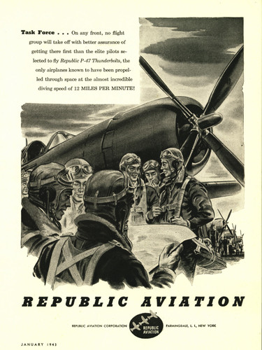 "Republic Aviation ""Task Force"" P-47 Thunderbolt Vintage Military Aircraft Airplane Poster"