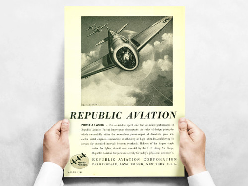 "Republic Aviation ""Power At Work"" P-47 Thunderbolt Vintage Military Aircraft Airplane Poster Ad Reproduction 24""x18"