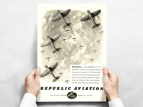 "Republic Aviation ""Top Layer"" P-47 Thunderbolt Vintage Military Aircraft Airplane  Poster Mockup Art Display"