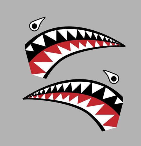 Flying Tigers P-40 Warhawk Shark Mouth Teeth Nose Art Military Aircraft Decal - Includes 2 Mirrored Decals (SM-05)