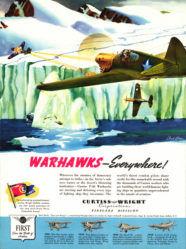 "P-40 ""Warhawks Everywhere"" Vintage Airplane Poster"