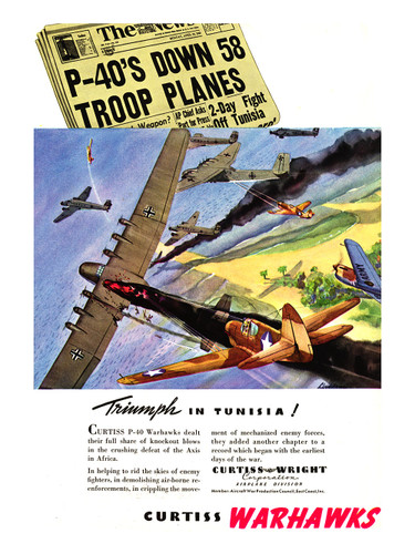 "P-40 ""Triumph in Tunisia Vintage Airplane Poster"