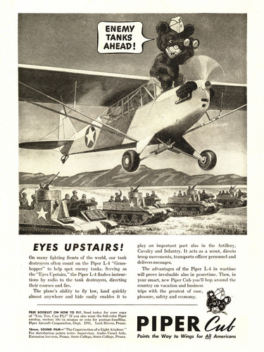 "Piper Cub ""Enemy Tanks Ahead!"" Vintage Poster"
