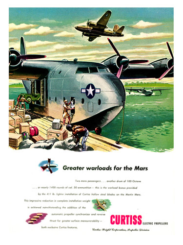 "Martin Mars ""Greater Warloads"" Vintage Aircraft Poster"