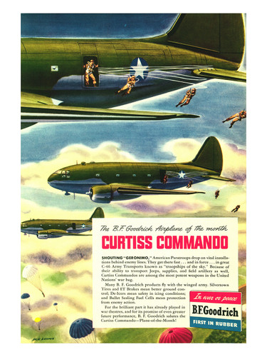 Curtiss Commando Vintage B.F. Goodrich Military Aircraft Poster