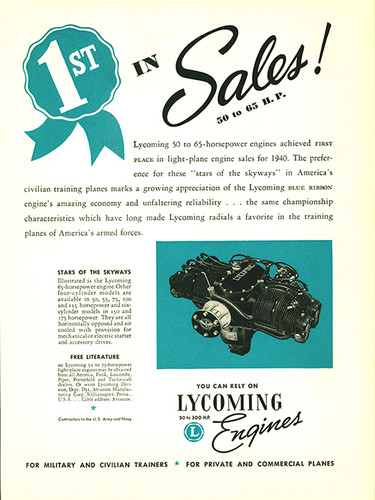 "Lycoming Engines ""1st in Sales"" Aircraft Engine Poster"