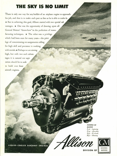 "Allison Engines ""The Sky is No Limit"" Military Aircraft Engine Poster"