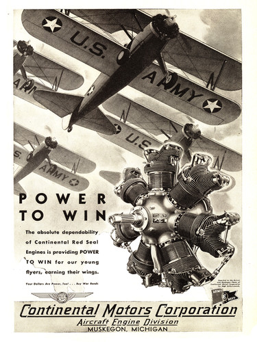 "Continental Motors  Stearman Bi-Plane "" Power to Win"" Poster"