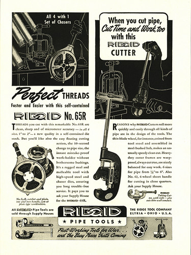 "Ridged ""Pipe Tools"" Vintage Military Tool Poster"