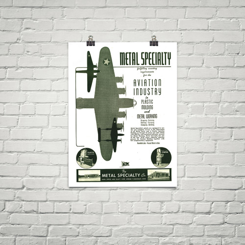 Metal Specialty Co.  Vintage Military Aviation Poster