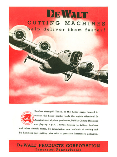 "DeWalt Cutting Machines ""Bomber Strength!"" Vintage Poster"