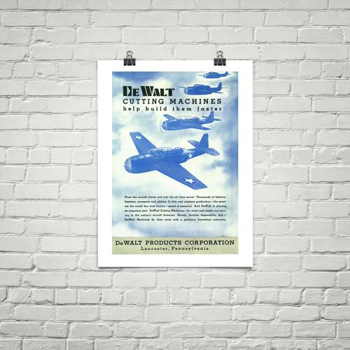 """DeWalt """"Helps Deliver them Faster"""" Vintage Poster Mockup Art Display"""