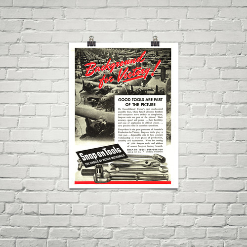 "Snap-On Tools ""Background for Victory!"" Vintage Poster Mockup Art Display"