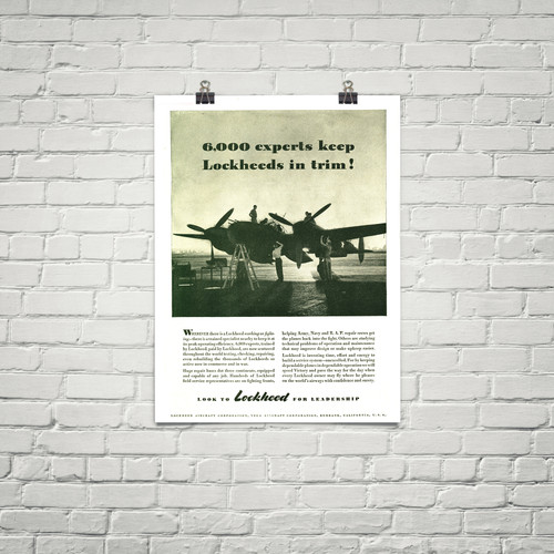 "P-38 Lockheed Lightning ""6000 Experts"" Vintage Military Aircraft Airplane Poster"