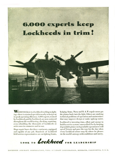 "P-38 Lockheed Lightning ""6000 Experts"" Vintage Military Aircraft Airplane Poster Mockup Art Display"