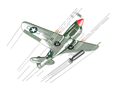 P-40 Front Aircraft View Poster Mockup Art Display