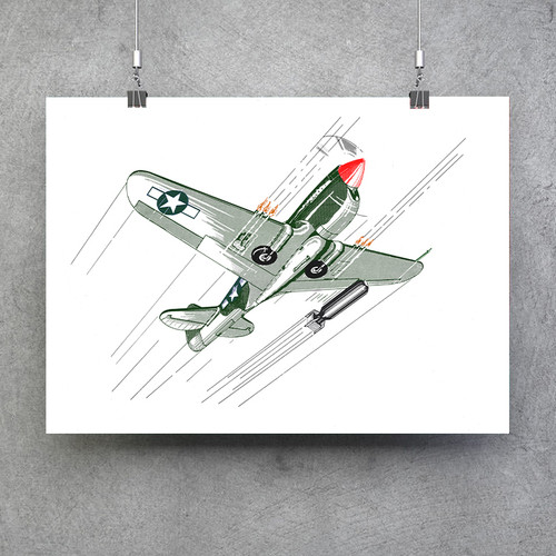 "P-40 Bombs Away Poster - Vintage Aviation Fine Art Print 24""x18"""