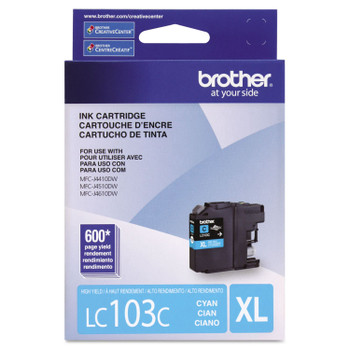 Brother LC103C High Yield Ink Cartrodge - Cyan - Yield 600 Pages