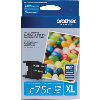 Brother LC75C High Yield Ink Cartridge - Cyan - Yield 600 Pages