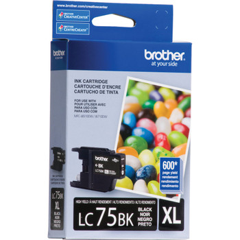 Brother LC75BK High Yield Ink Cartridge - Black - Yield 600 Pages