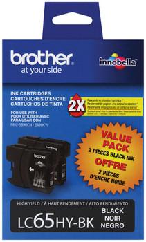 Brother LC652PKS High Yield Ink Cartridge - Black 2 Packs - 900 Yield