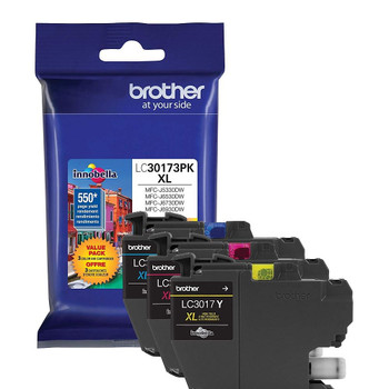 Brother LC30173PK High Yield Ink Cartridge Combo Pack (C, M, Y) - 550